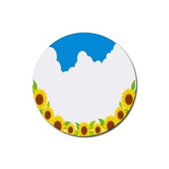 Cloud Blue Sky Sunflower Yellow Green White Rubber Coaster (round)  by Mariart