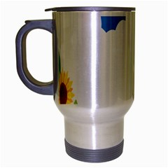 Cloud Blue Sky Sunflower Yellow Green White Travel Mug (silver Gray) by Mariart