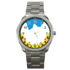 Cloud Blue Sky Sunflower Yellow Green White Sport Metal Watch by Mariart