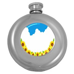 Cloud Blue Sky Sunflower Yellow Green White Round Hip Flask (5 Oz) by Mariart