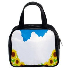 Cloud Blue Sky Sunflower Yellow Green White Classic Handbags (2 Sides) by Mariart