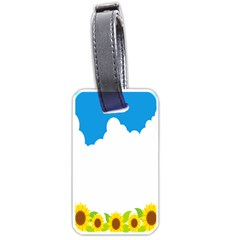 Cloud Blue Sky Sunflower Yellow Green White Luggage Tags (two Sides) by Mariart