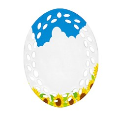 Cloud Blue Sky Sunflower Yellow Green White Ornament (oval Filigree) by Mariart