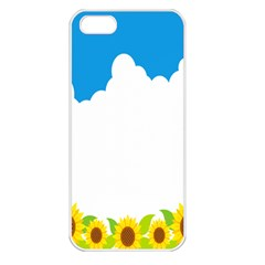 Cloud Blue Sky Sunflower Yellow Green White Apple Iphone 5 Seamless Case (white) by Mariart