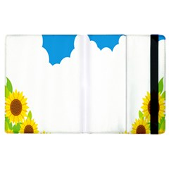 Cloud Blue Sky Sunflower Yellow Green White Apple Ipad 2 Flip Case by Mariart