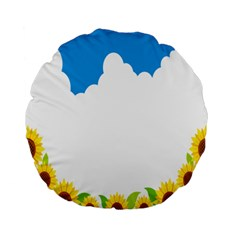 Cloud Blue Sky Sunflower Yellow Green White Standard 15  Premium Round Cushions by Mariart