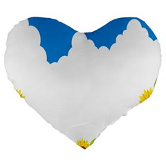 Cloud Blue Sky Sunflower Yellow Green White Large 19  Premium Heart Shape Cushions by Mariart