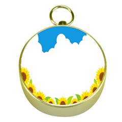 Cloud Blue Sky Sunflower Yellow Green White Gold Compasses
