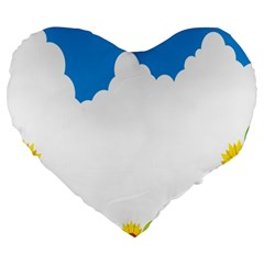 Cloud Blue Sky Sunflower Yellow Green White Large 19  Premium Flano Heart Shape Cushions by Mariart