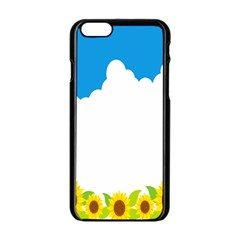 Cloud Blue Sky Sunflower Yellow Green White Apple Iphone 6/6s Black Enamel Case by Mariart