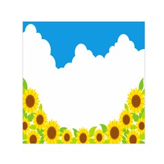 Cloud Blue Sky Sunflower Yellow Green White Small Satin Scarf (square) by Mariart