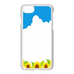 Cloud Blue Sky Sunflower Yellow Green White Apple Iphone 7 Seamless Case (white) by Mariart
