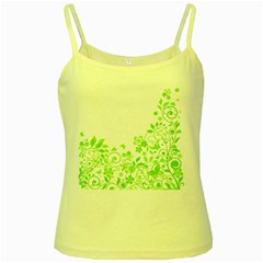 Butterfly Green Flower Floral Leaf Animals Yellow Spaghetti Tank by Mariart