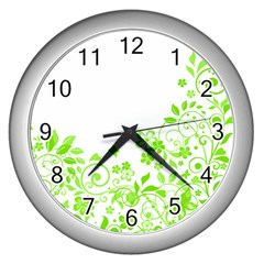 Butterfly Green Flower Floral Leaf Animals Wall Clocks (silver)  by Mariart