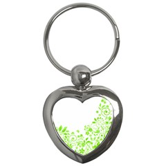 Butterfly Green Flower Floral Leaf Animals Key Chains (heart)