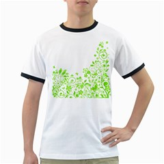 Butterfly Green Flower Floral Leaf Animals Ringer T Shirts