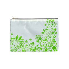 Butterfly Green Flower Floral Leaf Animals Cosmetic Bag (medium)  by Mariart