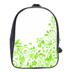 Butterfly Green Flower Floral Leaf Animals School Bags(large)