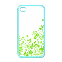 Butterfly Green Flower Floral Leaf Animals Apple Iphone 4 Case (color) by Mariart