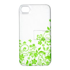 Butterfly Green Flower Floral Leaf Animals Apple Iphone 4/4s Hardshell Case With Stand by Mariart