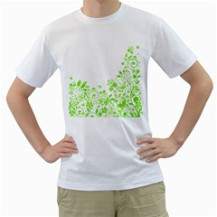 Butterfly Green Flower Floral Leaf Animals Men s T Shirt (white)  by Mariart