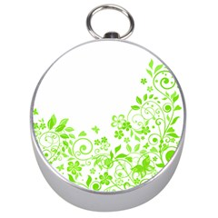 Butterfly Green Flower Floral Leaf Animals Silver Compasses by Mariart