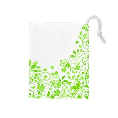 Butterfly Green Flower Floral Leaf Animals Drawstring Pouches (medium)  by Mariart
