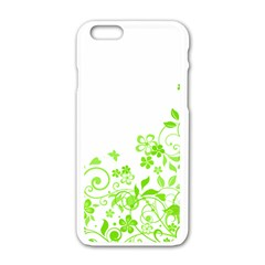 Butterfly Green Flower Floral Leaf Animals Apple Iphone 6/6s White Enamel Case by Mariart