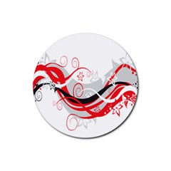 Flower Floral Star Red Wave Rubber Coaster (round)  by Mariart