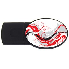 Flower Floral Star Red Wave Usb Flash Drive Oval (2 Gb) by Mariart