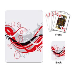 Flower Floral Star Red Wave Playing Card by Mariart
