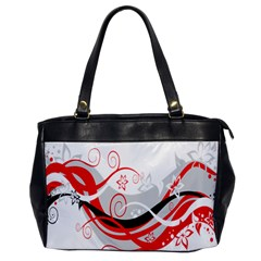 Flower Floral Star Red Wave Office Handbags by Mariart