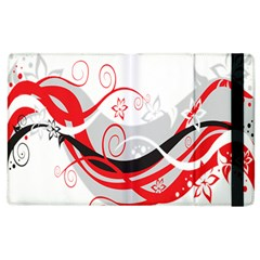 Flower Floral Star Red Wave Apple Ipad 2 Flip Case by Mariart
