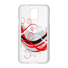 Flower Floral Star Red Wave Samsung Galaxy S5 Case (white) by Mariart