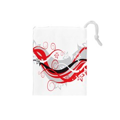 Flower Floral Star Red Wave Drawstring Pouches (small)  by Mariart