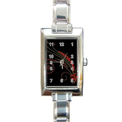 Flower Leaf Red Black Rectangle Italian Charm Watch by Mariart