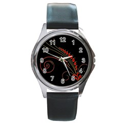 Flower Leaf Red Black Round Metal Watch by Mariart