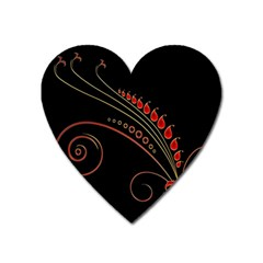 Flower Leaf Red Black Heart Magnet by Mariart