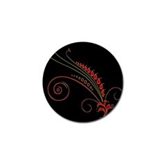 Flower Leaf Red Black Golf Ball Marker (4 Pack) by Mariart