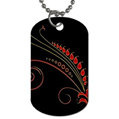 Flower Leaf Red Black Dog Tag (two Sides) by Mariart