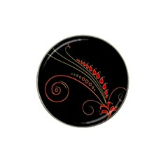 Flower Leaf Red Black Hat Clip Ball Marker (4 Pack) by Mariart