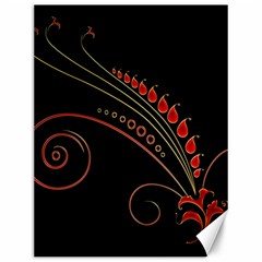 Flower Leaf Red Black Canvas 12  X 16   by Mariart