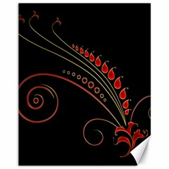 Flower Leaf Red Black Canvas 11  X 14   by Mariart