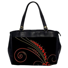 Flower Leaf Red Black Office Handbags (2 Sides)  by Mariart