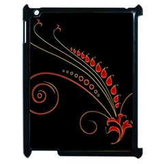 Flower Leaf Red Black Apple Ipad 2 Case (black) by Mariart