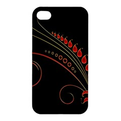 Flower Leaf Red Black Apple Iphone 4/4s Hardshell Case by Mariart