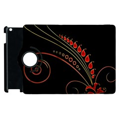 Flower Leaf Red Black Apple Ipad 3/4 Flip 360 Case by Mariart