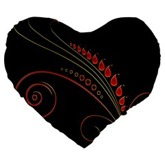 Flower Leaf Red Black Large 19  Premium Heart Shape Cushions