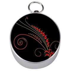 Flower Leaf Red Black Silver Compasses by Mariart