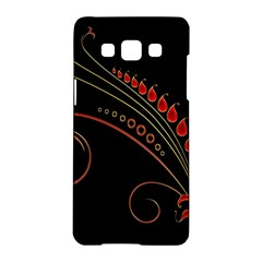 Flower Leaf Red Black Samsung Galaxy A5 Hardshell Case  by Mariart